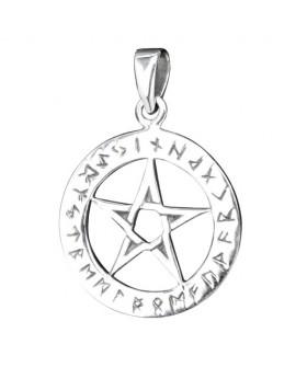 Ciondolo con pentagramma e rune