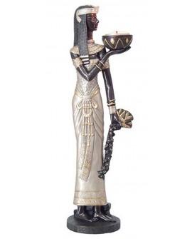 Figura egiziana con vassoio porta tealight