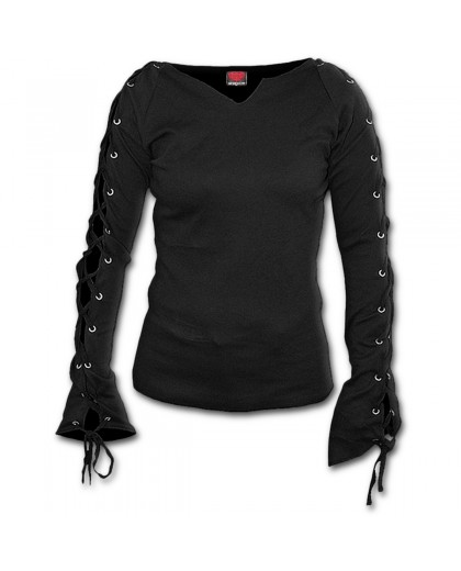 Laceup Sleeve Blk