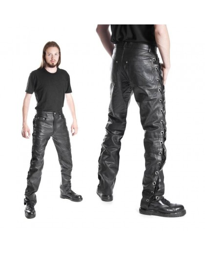 Pantalone in pelle con lacci laterali
